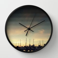 Fading Skies Wall Clock #wall #clock #time #blue #sky #homedecor #wallart #modern #retro #marina