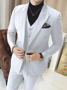 Mens White Suit, White Suits, White Prom Suits For Men, Pinstripe Suit, Mens Fashion Suits, Mens Suits, Suit Men, Dress Suits For Men, Mode Costume
