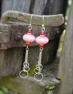 Red and White Striped Earrings Glass Beads by practicallyfrivolous, $25.00