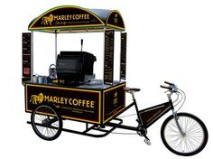 Marley Coffee Jamaica and its sister operation Jammin Java are pushing for growth through the franchising of mobile cafés in partnership with BikeCaffe Limited. Mobile Cafe, Mobile Shop, Coffee Carts, Coffee Truck, Marley Coffee, Bike Cart, Bike Food, Mobile Catering, Food Kiosk