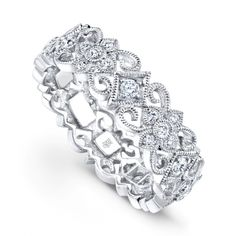 Beverly K Collection: 18K White Gold and Diamond Ornate Band
