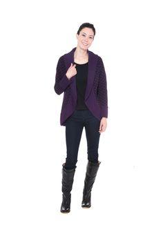 Purple and black print cotton shawl collar cardigan sweater by Jennifer Fukushima.
