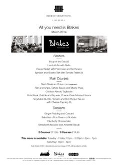 Blakes New March - All you Need is Blakes Menu - Out Now