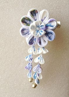 Kanzashi Style Flower hair barrette for sd size by deepwinter, $28.00