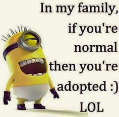 In my family, if you're normal then you're adopted.