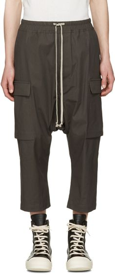 Rick Owens - Grey Cropped Drawstring Cargo Trousers