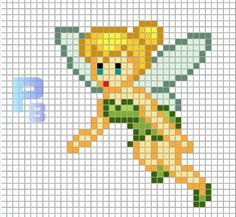 Tinker Bell perler pattern - Patterns Beads / Templates for Hama - Paris Disneyland Pictures Cross Stitch Fairy, Beaded Cross Stitch, Cross Stitch Embroidery, Crochet Pixel, Crochet Cross, Perler Bead Disney, Perler Bead Art, Perler Beads, Disney Hama Beads Pattern