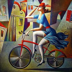 Kurasov, Georgy (Russian, b. 1960) - Red Bike and Hat - s.d. | Flickr - Photo Sharing!