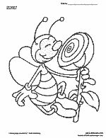Thumbnail of a happy bee sniffing a flower coloring page