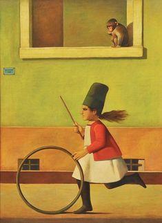 A menina e o macaco, 1977 Reynaldo Fonseca (Brasil, 1925) óleo sobre tela, 95 x 130 cm