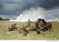 Artillery section of 45 mm anti-tank gun is fighting under the cover of a smokescreen. The Central front.