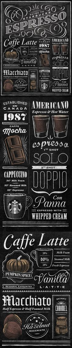 Hate Starbucks but this is some nice lettering. Starbucks Espresso Guide Typographic Mural by Jaymie McAmmond Chalk Lettering, Typography Letters, Coffee Typography, I Love Coffee, My Coffee, Coffee Corner, Coffee Girl, Coffee Signs, Black Coffee