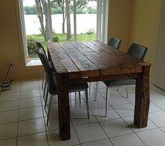Table de cuisine en bois de grange massif reclaimed wood - Table de cuisine en bois ...