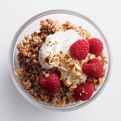 Crunchy Peanut Butter Bulgur with Berries - Whole-Grain Breakfast Recipes - Cooking Light Mobile Brunch Recipes, Breakfast Recipes, Breakfast Ideas, Brunch Dishes, Breakfast Dishes, Bulgur Recipes, Cooking Light Recipes, Cooking Fish, Healthy Snacks