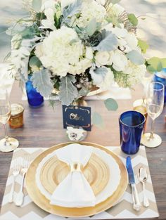 gold and navy wedding ideas by the sea #gold #navy  http://www.weddingchicks.com/2013/12/09/glacier-national-park-wedding/
