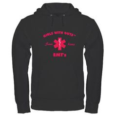 """EMT Saves Lives Pink Hoodie if only it said """"love EMTs"""" because I can't save lives... I throw up."""