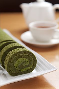 Japanese Matcha roll cake. By the way, there's a very informative youtube channel called Cooking With Dog that has many, many traditional recipes including Matcha Roll Cake.