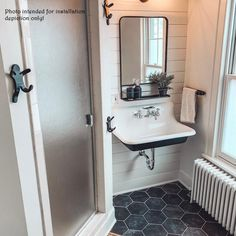 Bathroom decor for your master bathroom remodel. Discover master bathroom organization, bathroom decor suggestions, master bathroom tile ideas, bathroom paint colors, and more. Vintage Bathroom Sinks, Farmhouse Bathroom Sink, Vintage Sink, Trough Sink Bathroom, Vintage Farmhouse Sink, Bathroom Sink Faucets, Upstairs Bathrooms, Downstairs Bathroom, Sinks For Small Bathrooms