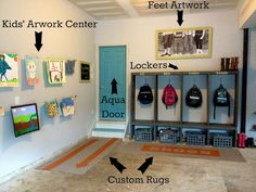 great idea for a mudroom right in your garage. Why even step foot in the house with those muddy boots and backpack! From the art work wall to the actually shelving this garage mudroom is a home run! PLUS - LOVE the aqua door! Garage House, Diy Garage, Garage Lockers, Garage Mudrooms, Mud Room In Garage, Dream Garage, Garage Workbench, Garage Signs, Garage Entryway