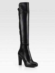 Stuart Weitzman - Highline Stretch Leather Over-The-Knee Boots - Saks.com