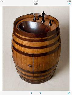 Wine Barrel Vanity - rustic - Bathroom Vanities And Sink Consoles - Alpine Wine Design Rustic Bathroom Vanities, Rustic Bathrooms, Bathroom Ideas, Design Bathroom, Bathroom Storage, Bathroom Interior, Modern Bathroom, Wine Design, Deco Design