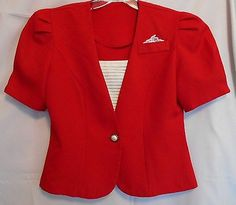 Stunning Red Jacket Small Deep V Neck with White Pleated Panel Curved Hem
