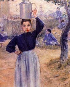 """La aldeanita del clavel rojo"", Adolfo Guiard. Museo BBAA Bilbao."