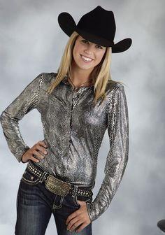 Roper® Women's Black & Silver Snake Print Long Sleeve Snap Western Show Shirt