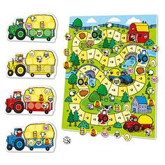 Drive around the farmyard picking up animals in your tractor when you land on a +1 +2 +3 or +4 and dropping off when you land on a -1 or -2. A fun introduction to adding and subtracting....