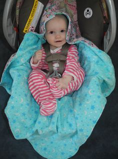 Hooded Flannel Carseat Blanket for Baby  Pink by TheCherryCheetahs, $35.00
