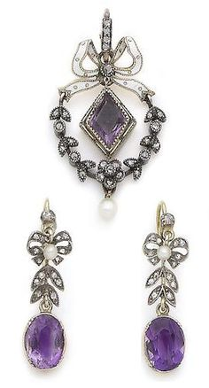 A Belle Époque amethyst, enamel and seed pearl pendant necklace and a pair of…