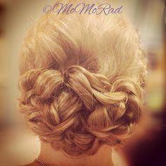 weddinghairbymomorad Pin curled bridal updo with a crown braid. #bridalupdo