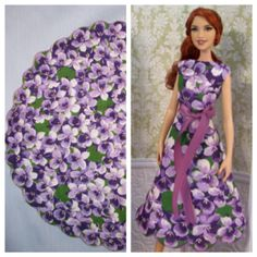 Ooak Barbie dress and the vintage circle hankie it was made from