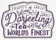 Craft some tea-time charm with this apothecary-style Darjeeling label design. Stitch onto tea towels, throw pillows, and more!