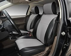120904S Black Grey 2 Front Car Seat Cover Cushions Leather Like Vinyl Compatible