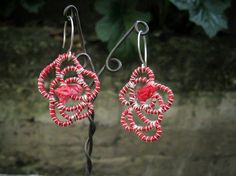 sweet flower dangle earrings, fine silver coiled around strips of plastic bags. Sterling Silver Earrings, Dangle Earrings, Crochet Earrings, Plastic Bags, Repurposed, Dangles, Sweet, Flowers, Etsy