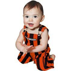 Infant Game Bib Overalls - Orange/Black