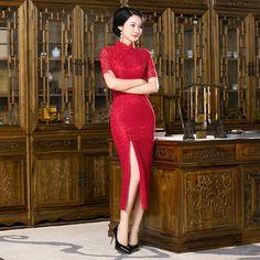 High-Grade Chinese Nationality Women's Qipao Long Elegant Red Lace Cheong-sam Dress S M L XL XXL Free Shipping F201613