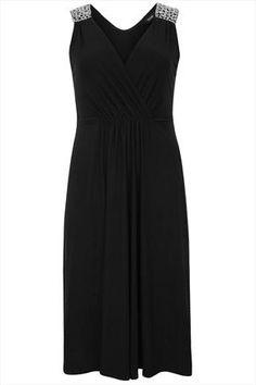 Black+Sleeveless+Stretch+Midi+Dress+With+Jewelled+Shoulders+50733