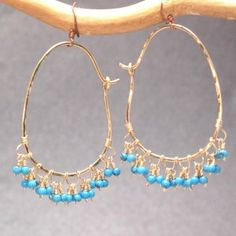 Sahara 89 Hammered hoops with dangling gemstones of your choice