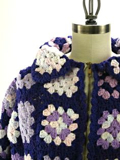 Vintage purple crocheted granny square jacket by RecentHistory