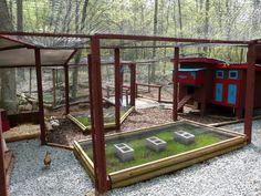 Arianna's Chicken Coop - BackYard Chickens Community- What a great idea, beds of grass with wire over them, the chickens can get the grass when it gets long enough but can't scratch/tear it up. The cinderblocks help keep the wire up.