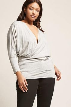 Plus Size Surplice-Front Tunic
