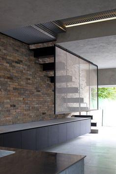 #floatingstaircase #brickwall #longunits  ZBL House by Paritzki & Liani Architects