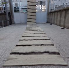 21 foot Narrow Handmade Undyed Plain and Simple Organic Turkish Kilim Rug Runner #Contemporary