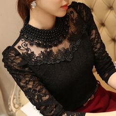 Plus size Sexy Lace Chiffon Tops Autumn Women Blouses Shirts Lace Blouse Long Sleeve Casual Shirt Beaded Blusas Women Clothing Lace Tops, Chiffon Tops, Lace Chiffon, Lace Blouses, Lace Shirts, Women's Shirts, Shirt Blouses, White Lace Blouse, Girls Blouse
