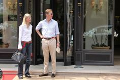 H.R.H. Bernhard, hereditary Prince of Baden and his wife Stephanie Anne Kaul are sighted leaving the 'Hermitage' hotel before the Royal Wedding of Prince Albert II of Monaco to Charlene Wittstock in the main courtyard at on July 2, 2011 in Monaco, Monaco.