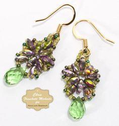 twin bead earrings | Beaded Briolette Earrings With Superduo Beads