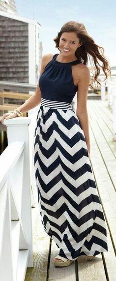 Gorgeous chevron long maxi skirt fashion. Add a cardigan....perfect!!