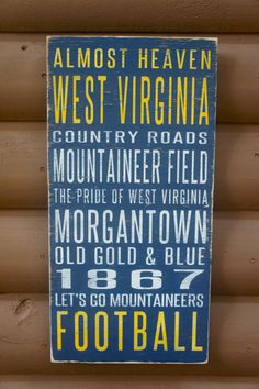West Virginia University Distressed Decorative Sign on Etsy, $65.00